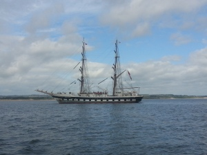 Tall Ship moored outside Amble